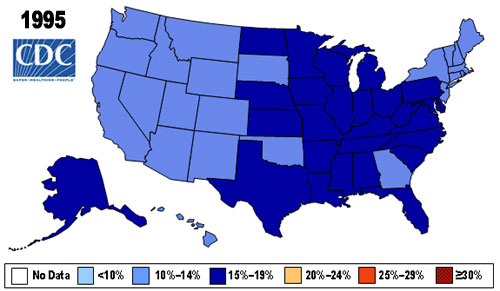 Map showing Percent of Obese (BMI > 30) in U.S. Adults in 1995 by state