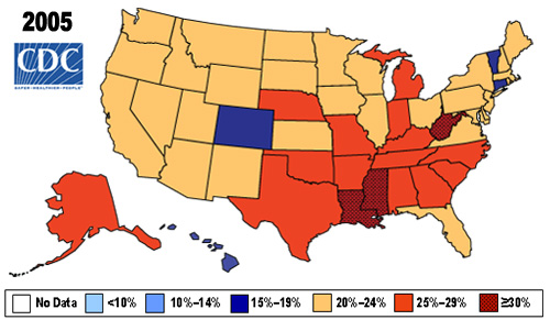 Map showing Percent of Obese (BMI > 30) in U.S. Adults in 2005 by state