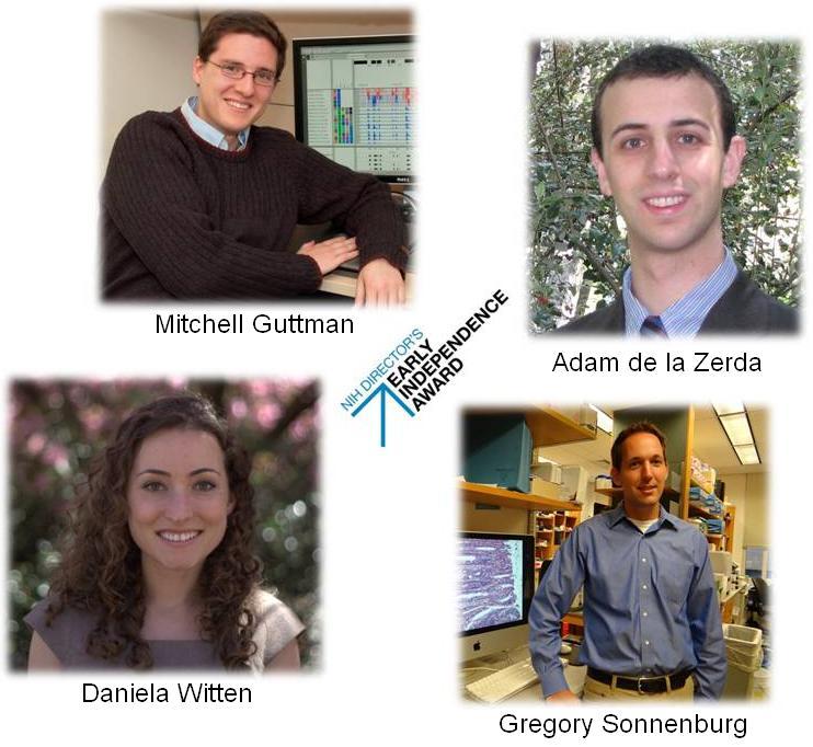 Photos of the four Early Indepence Award winners: Mitchell Guttman, Gregory Sonnenberg, Adam de la Zerda, and Daniela Witten