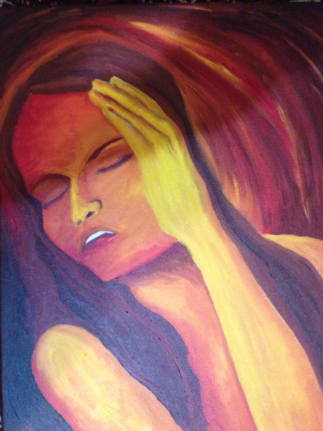 Oil painting of a woman holding her head, frowning