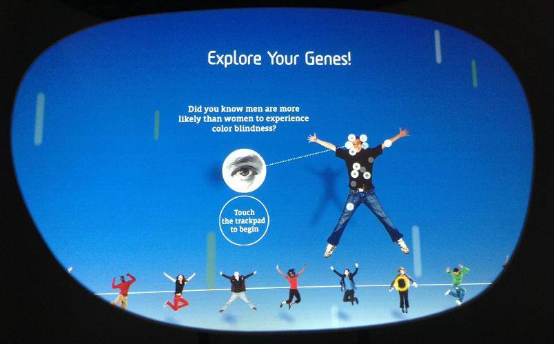 Photo of one of the interacive touch screen exhibits