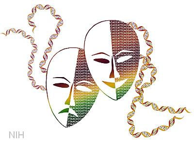 Greek comedy tragedy play masks -- altered with ATCGs to create the shadows and double helix to create the ties.