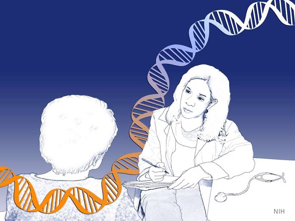 Artist's rendering of a doctor with a patient and a strand of DNA