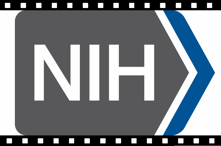NIH logo, surrounded by a filmstrip border
