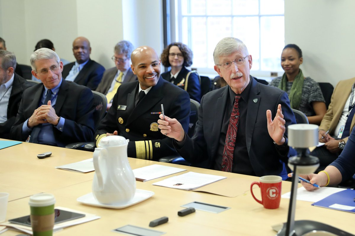 Dr. Collins meets with U. S. Surgeon General Dr. Jerome Adams