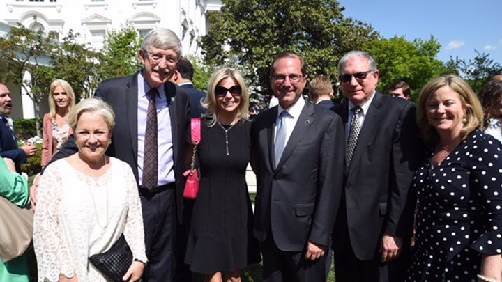 Francis Collins and friends in the White House Rose Garden