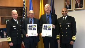 Assistant Secretary for Health Giroir, Deputy NIH Director Tabak, NIH Director Collins and Surgeon General Adams stand together for a photo