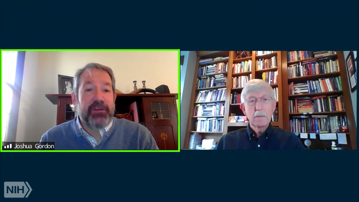 Zoom conversation between Joshua Gordon and Francis Collins