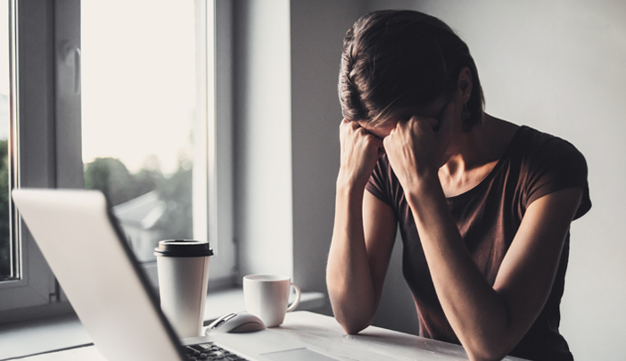 Woman frustrated while working